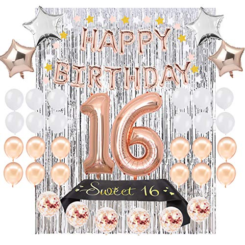 16th Birthday Party Decoration Kit - Assorted Rose Gold Mylar Balloons, Banner, Confetti, Stars, Sash, Garland & Silver Foil Curtain Decor |Happy Sweet Sixteen 16 Bday Prop Supplies for Girls