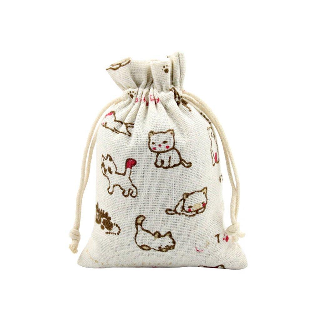 MeineBeauty Jutesäckchen Jute Sack Beutel Leinen Blumen Katzen Muster Schmuckbeutel Säckchen mit Zugband Geschenksäckchen für Hochzeitsfeier DIY Handwerk