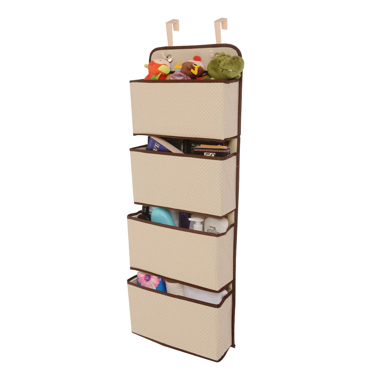 NUOKING Over Door Hanging Organizer,Baby Closet Organizer,Hanging Closet Organizer with 4 Large Pockets, Storable Closet,Storage (Beige Color) by NUOKING