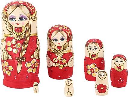 10Pcs Wood Handmade Russian Matryoshka Nesting Dolls Blue Hand Paint Gift Decor