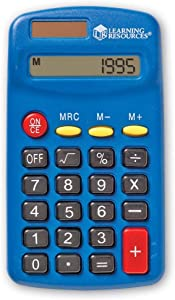 Learning Resources Primary Calculator, Solar Powered, Blue [Single], Ages 3+, Multicolor