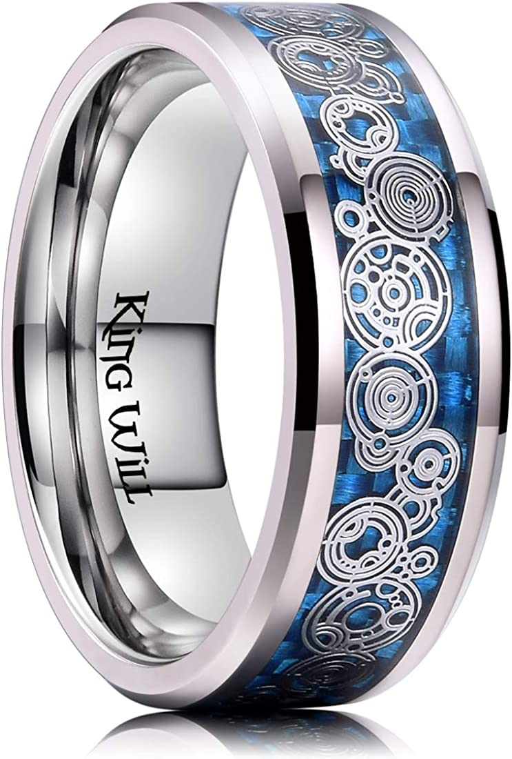 King Will 8mm Men Titanium Wedding Ring Inlaid Blue Carbon Fiber&Concentric Circles Pattern