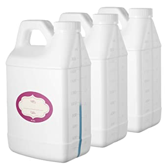 Pack of 3 - Rectangular White F-Style Jugs - Empty 64 oz Plastic Bottle with Scale Line - Jug Container with Child Resistant Airtight Lids and Labels - for Home and Commercial Use - BPA Free HDPE