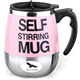 Freehawk Hot Sale Novelty Automatic Electric Stirring Coffee Mug Double Layer Stainless Steel Self Stirring Auto Coffee Mugs Self Mixing Cup for Morning, Office, Travelling in Pink (450ml/15.2oz)