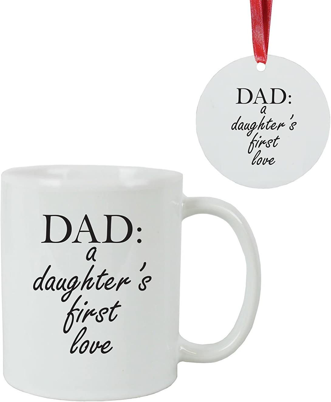 Amazon Com Dad A Daughter S First Love Coffee Mug With Christmas Ornament Gift Box Great Gift For Father S Day Birthday Or Christmas Gift For Dad Grandpa Papa Husband Home Kitchen