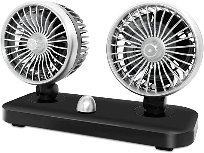 Betuy Auto Ventilator Doppellüfter 12 Volt Auto Kfz Lüfter Drehbarer Doppeltköpfe Lüfter Mit 2 Geschwindigkeiten Vertikal Horizontal Einstellbar Ventilator Leistungsstarke Gebläse Luftfilte Auto