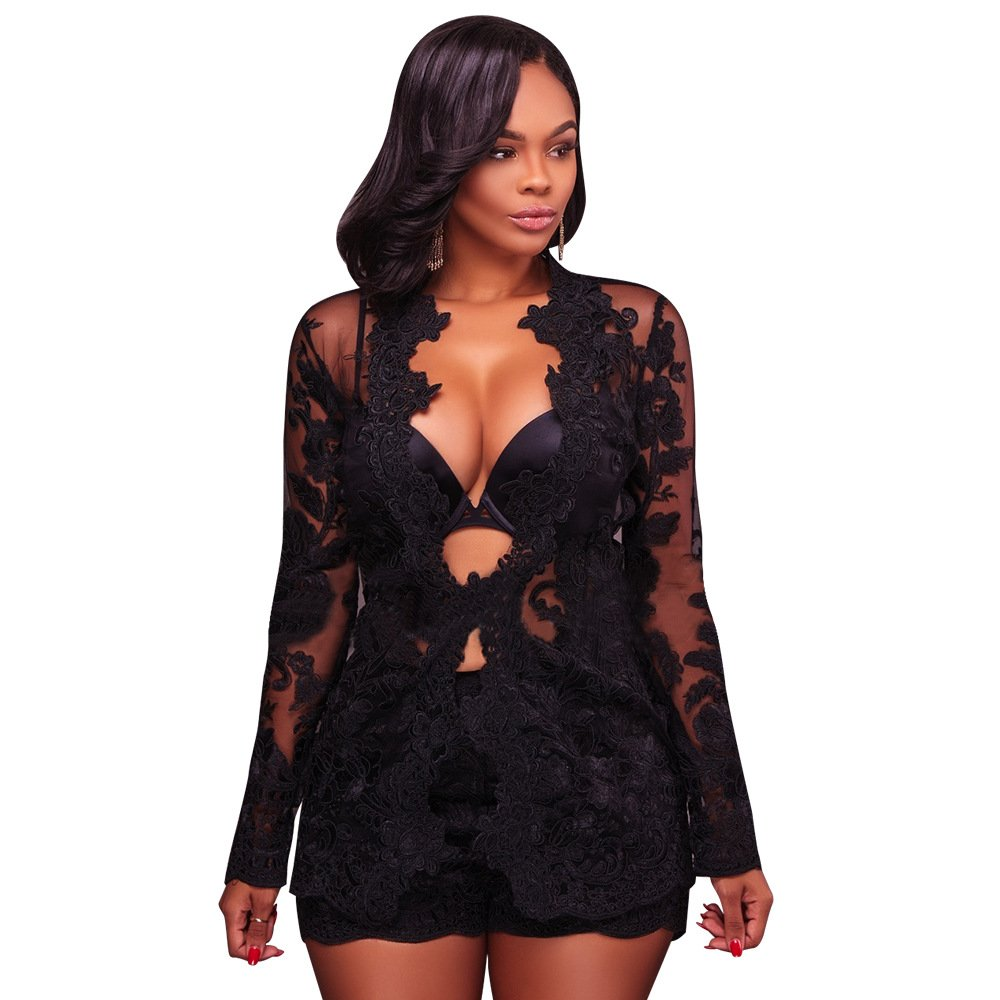 2 Piece Outfits for Women Long Sleeve See Through Floral Embroidered Lace Blazer with Shorts Black, X-Large