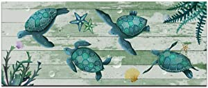 sechars - Vintage Canvas Wall Art Green Sea Turtles Swimming Pictures Print on Canvas Contemporary Underwater Landscape Paintings for Living Room Kids Bedroom Wall Decor Framed Ready to Hang 20x48inch