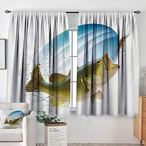 All of better Fishing Custom Curtains Largemouth Sea Bass Catching a Bite in Water Spray Motion Splashing Wild Image Patterned Drape for Glass Door 72 W x 45 L Green Blue
