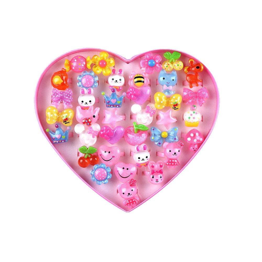 Creativa ni/ña Conjunto de regalo del amor del coraz/ón en forma de anillo de dibujos animados de los ni/ños anillo Pretend Juguete vestido hasta Anillos ni/ñas regalo 36pcs Crystal Tipo aleatoria
