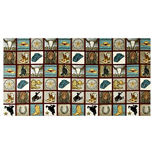 Blue Rodeo Fabric - HENRY GLASS & CO. Rodeo Round Up Cowboy Motif Squares 24inPanel Multi Fabric