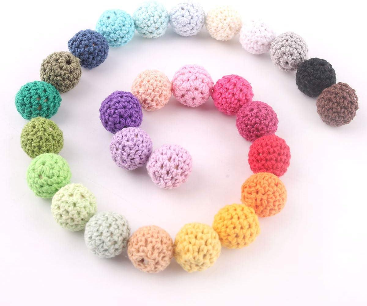 baby tete Crochet de madera cubrió la decoración de la bola 16m m / 50Pcs de la mezcla del color de los granos
