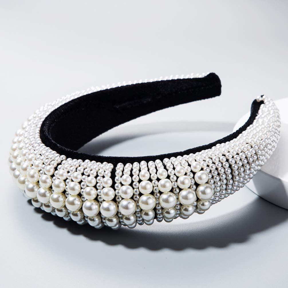 Padded Pearl Headband, Wide Edge Headwear for Women Bridal Hair Hoop Wedding Headpiece Jewelry Accessories
