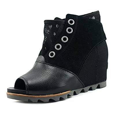 9b1feecccb98 Sorel Womens Joanie Mesh Wedge Open Toe Boots-Black Dove-10
