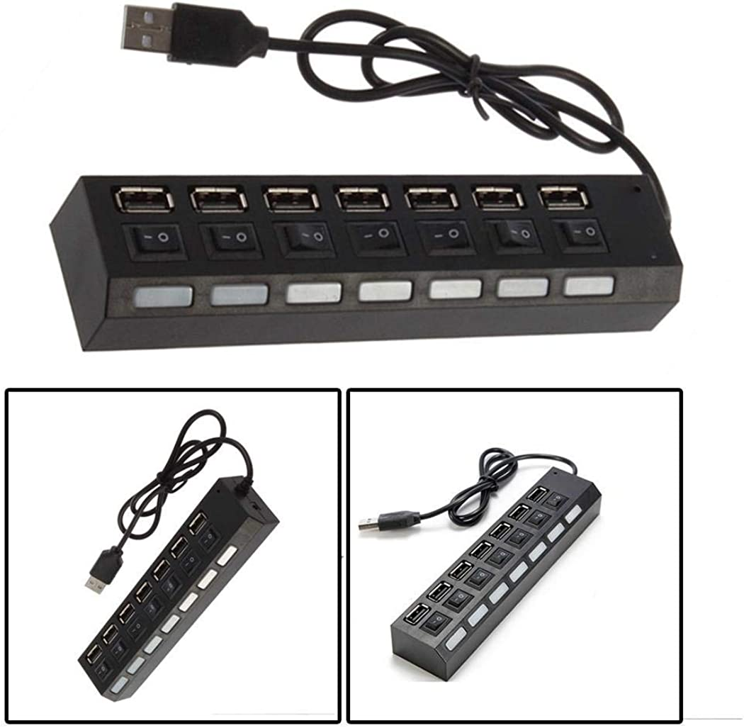 Kentew 7 Ports LED USB Adapter Hub Power on//off Switch For PC Laptop Hubs