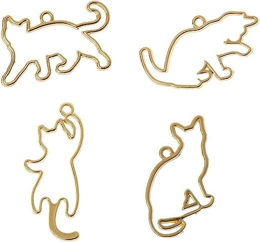 KunmniZ - 4 colgantes de marco con forma de bisel para gatos traviesos de resina UV: Amazon.es: Hogar