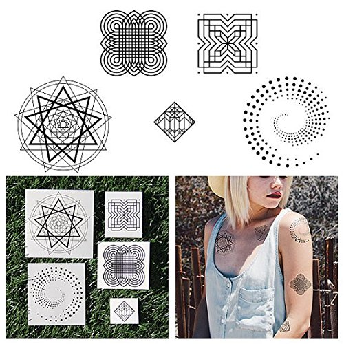 Tattify Geometric Line Drawing Temporary Tattoos - In Shape (Complete Set of 10 Tattoos - 2 of each Style) - Individual Styles Available- Fashionable Temporary Tattoos ()