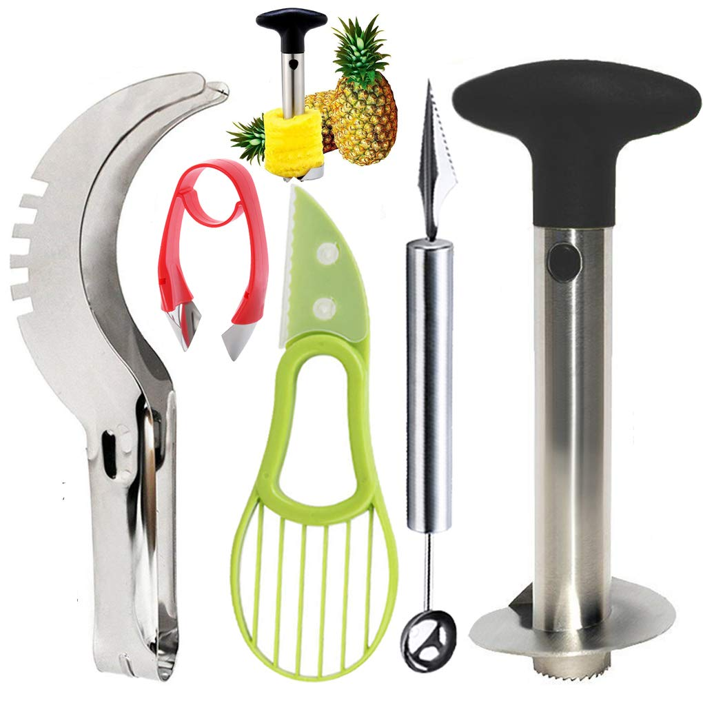 Stainless Steel Pineapple Cutter Corer Peeler Slicer Watermelon Vocado Slicer Cutter Tool Melon Baller Scoop with Carver knife Strawberry Huller Stem Remover,5 Pcs Easy Kitchen Fruit Slicer Tools Set by iMustech