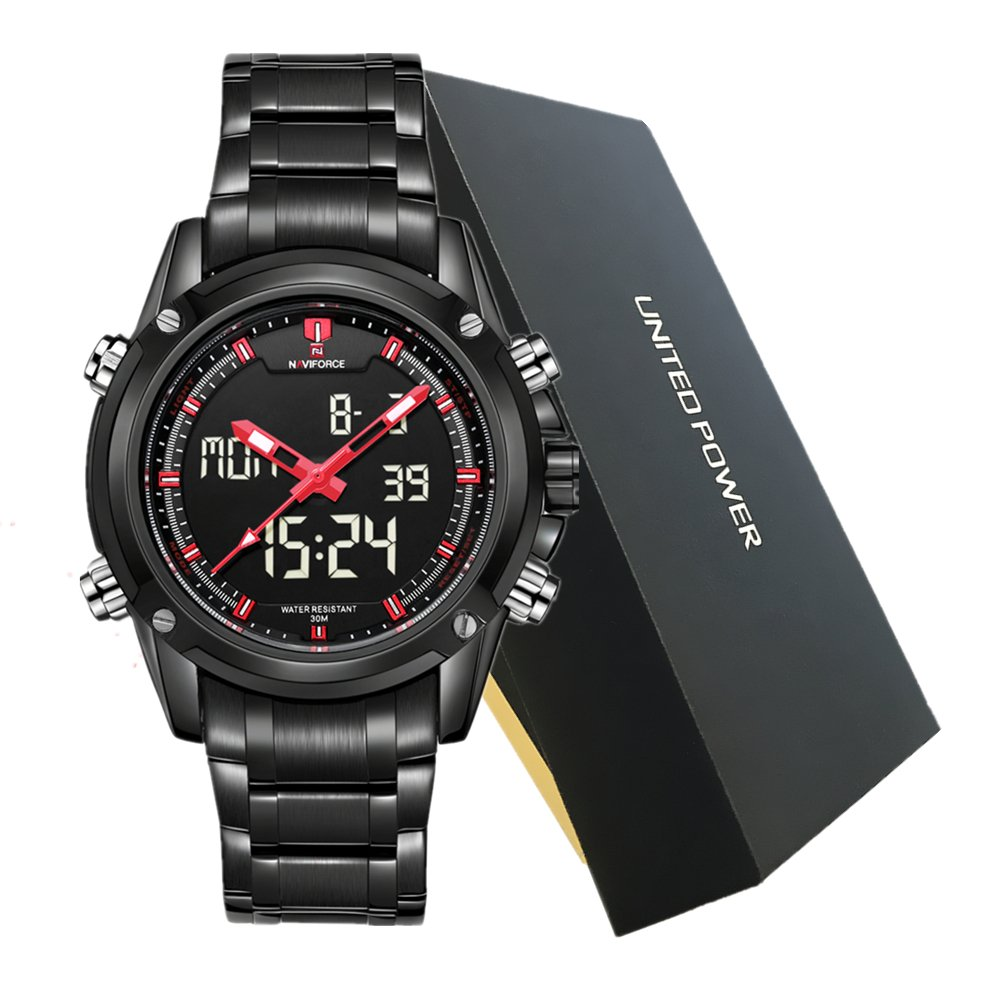 Amazon.com: NAVIFORCE Brand Sport Full Steel Digital LED Army Military Wrist Watch, Red: Watches