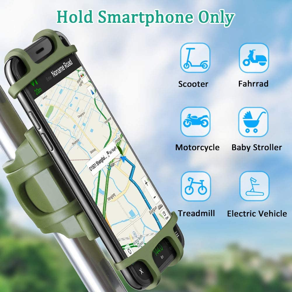 Bike Motorcycle Phone Mount Adjustable Silicon Universal Fit Handlebars and Smart Phones Like iPhone Xs Max R X 8 Plus 7 Samsung ANCwear 5-in-1 Portable Charger and Phone Holder