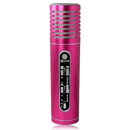 MC-092 Micrófono con Jugador Karaoke Condensador Recargable, Cantar y Grabar la Canción para