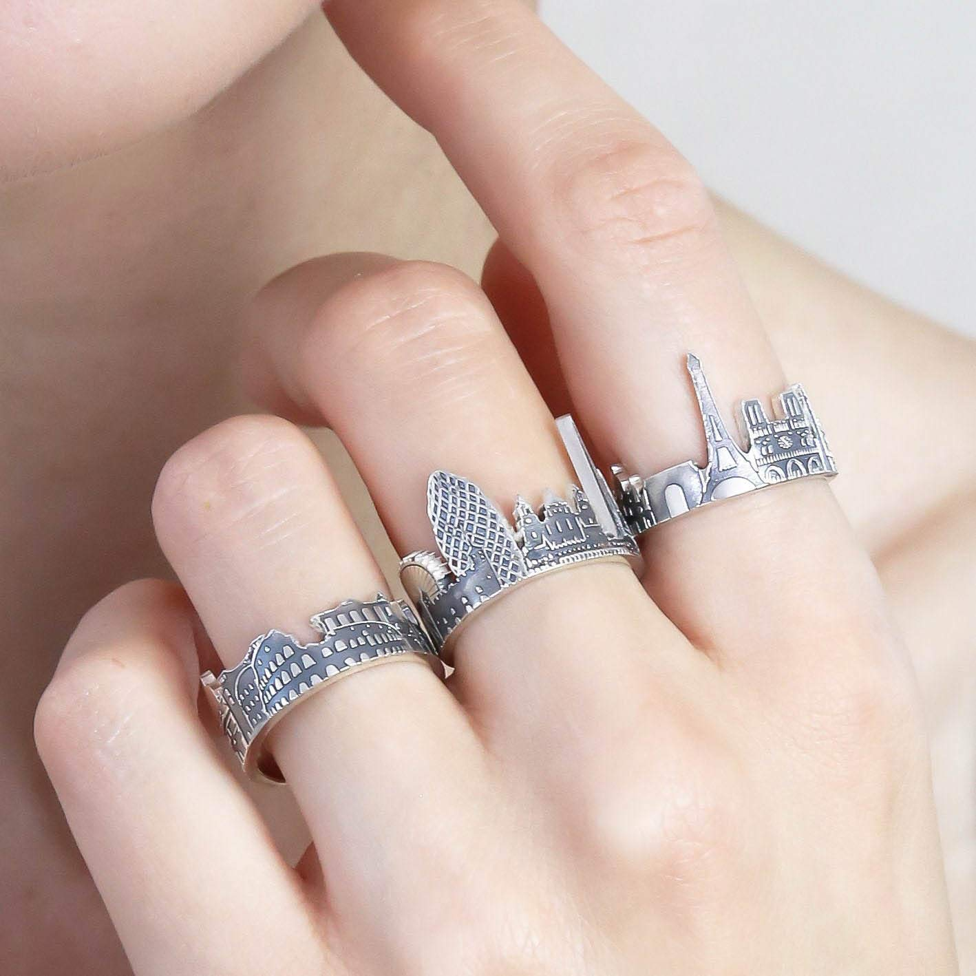 Amazon Com Your City Ring Any Cityscape Ring Travel Ring 925