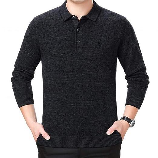 PFSYR Camisa Polo de los Hombres, suéter de Solapa Ocasional de la ...