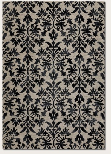 Couristan 6316/6333 Everest Retro Damask/Grey-Black 2-Feet b