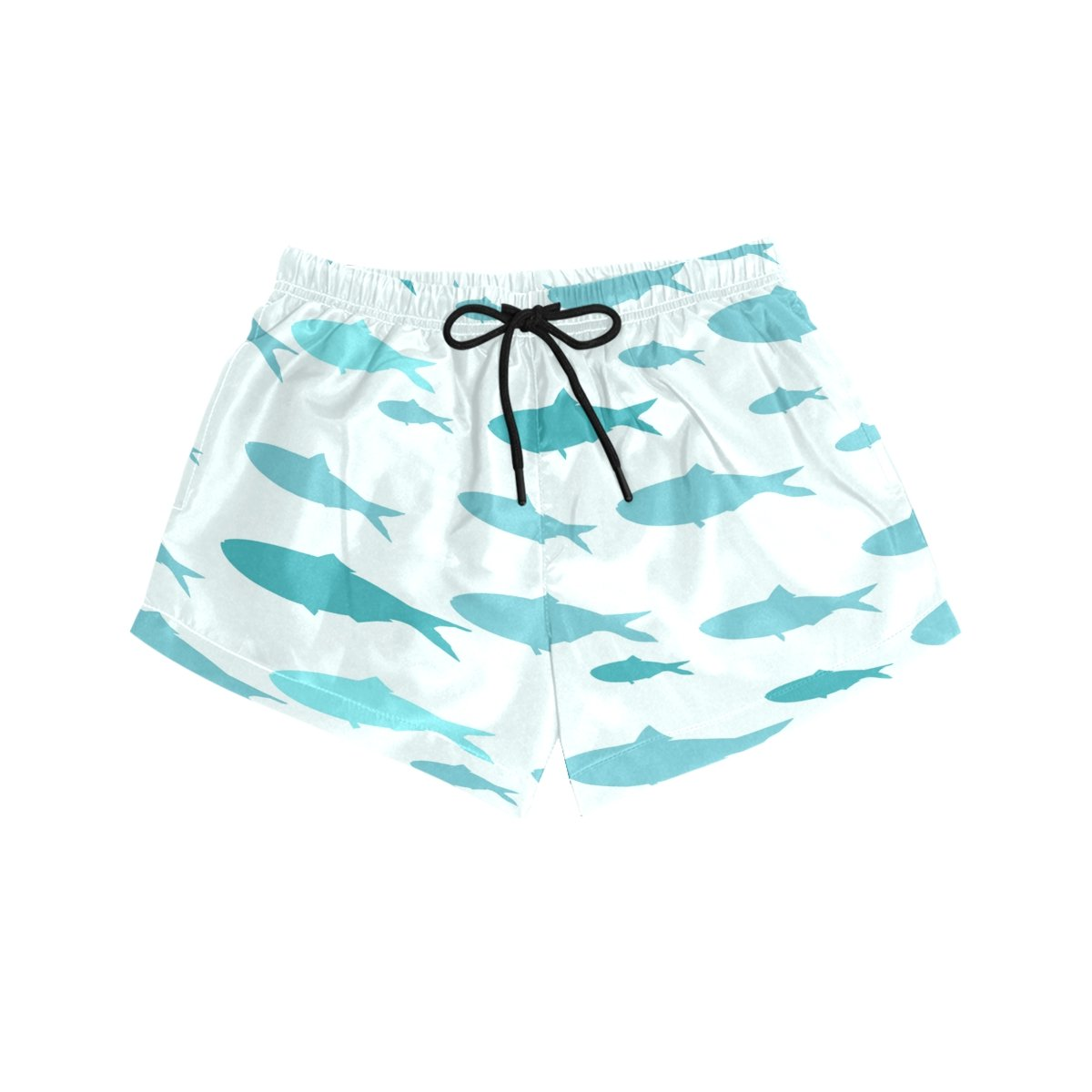Cooper girl ALAZA Watercolor Blue Whale Womens Shorts Beach Summer Drawstring Casual Shorts