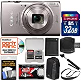 Canon PowerShot Elph 360 HS Wi-Fi Digital Camera (Silver) 32GB Card + Case + Battery + Selfie Stick + Sling Strap + Kit