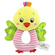 TOLOLO Baby's Wrist Rattle Learning Stuffed Cartoon Animal Hand Bell Plush Doll Toys for Newborn (Chicken)