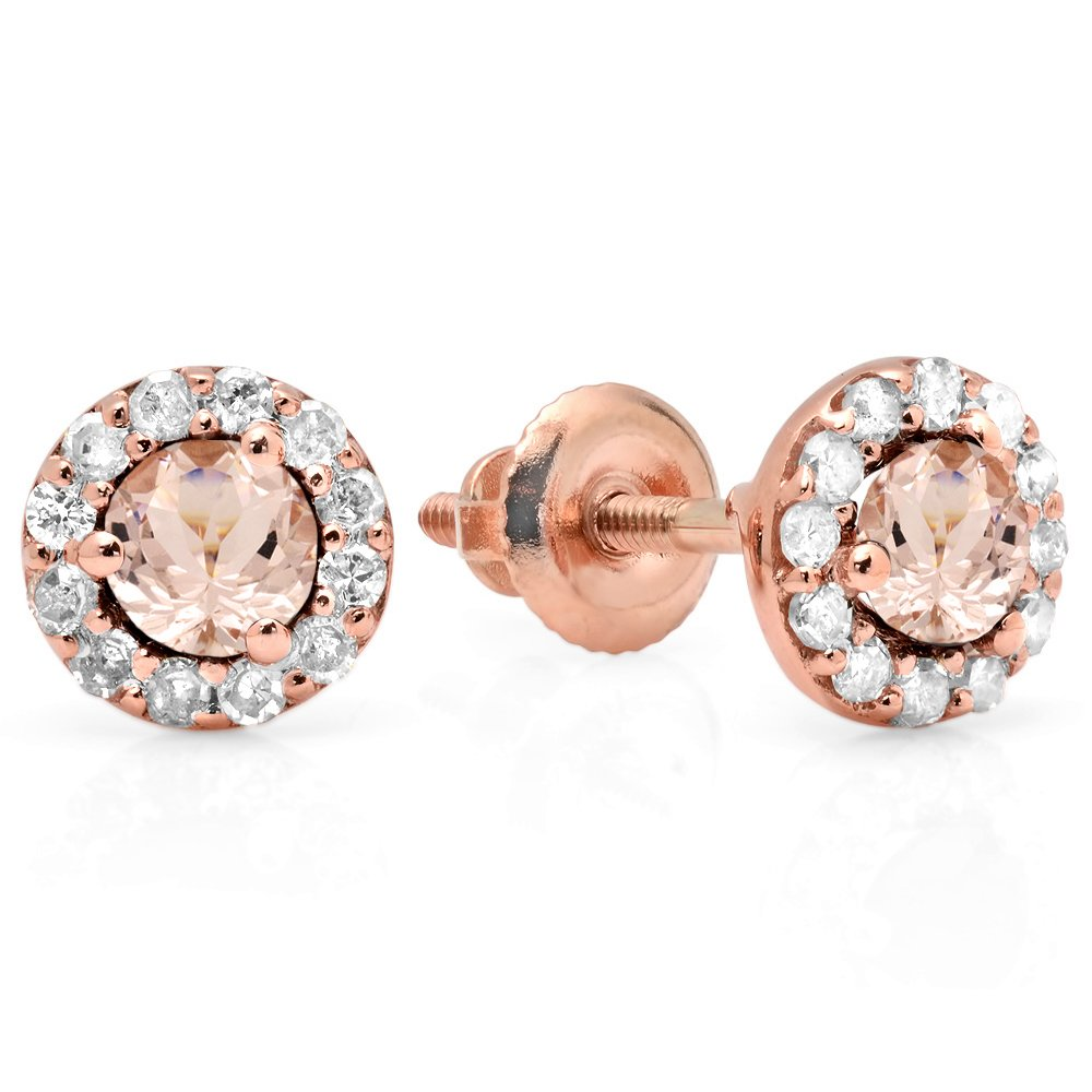 14K Rose Gold Real Round Cut Morganite & White Diamond Ladies Cluster Halo Style Stud Earrings