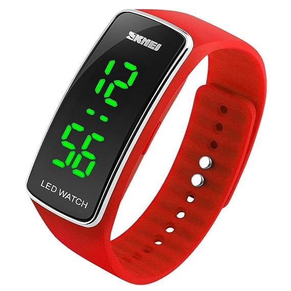 Panegy - Reloj Digital de Estilo Deportivo Silicona con LED para Niños-Color Rojo: Amazon.es: Relojes