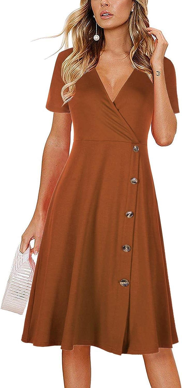 BrinKina Women's Summer Short Sleeve V Neck Wrap Casual Button Down Swing Sundress Knee Length A-line Party Dress