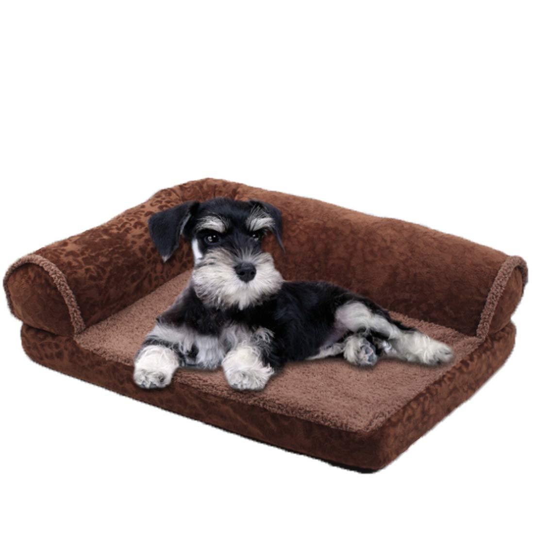 Large Comfortable Short Velvet Kennel Pet Waterloo Cat nest Dog Sofa Dog Bed Detachable Washable Dirt Resistant Bite Resistance Dark Brown   3 Sizes