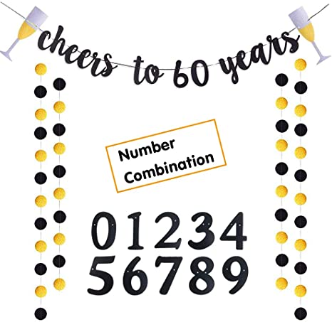 Party Sign CHEERS TO 60 YEARS Gold Glitter Banner