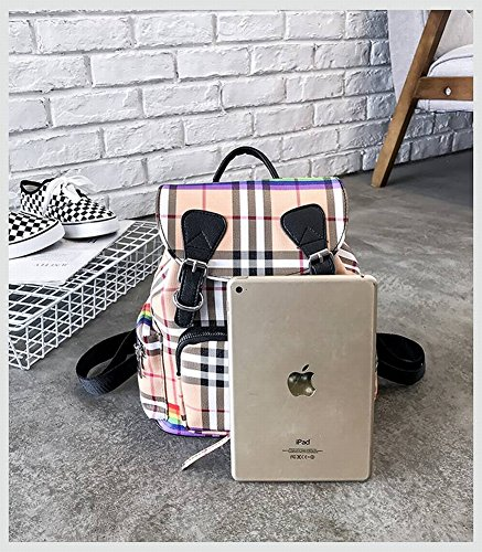 Travel Women's Ver Certificate Bag Bag Joker Hit Bag Type Single Bag Backpack Student Color Shoulder Checkered Bag Women's Brown Fashion Korean Small Hit Zipper Square Square Vertical Leisure Shoulder Plaid f0frq