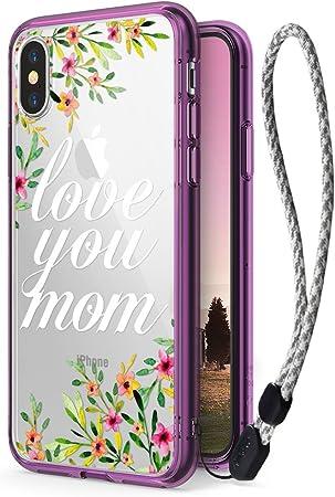 Ringke Funda Apple iPhone X, iPhone 10, Fusion [Deco Love You Mom Calcomanía + Estuche con Correa de Muñeca] Transparente PC Contraportada Diseño de Patrón Lindo Insertar Hoja de Película Conjunto: Amazon.es: