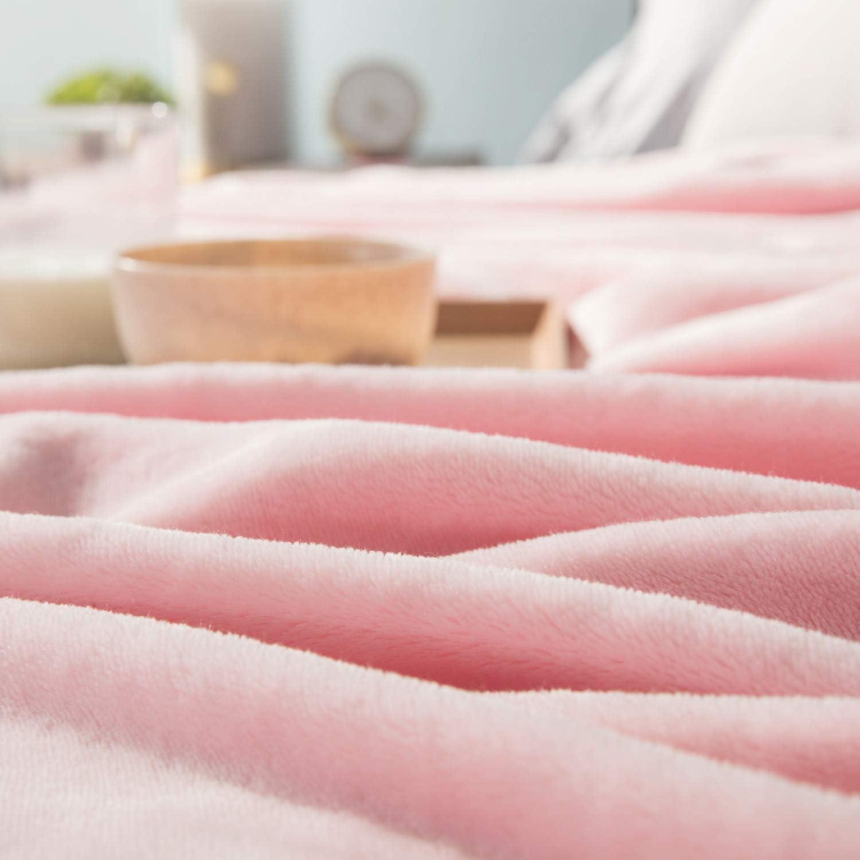 Couverture de Lit Douce et Chaude Plaid Jet/é de Canap/é Flanelle Bedsure Plaid Couverture Polaire Rose 130x150cm
