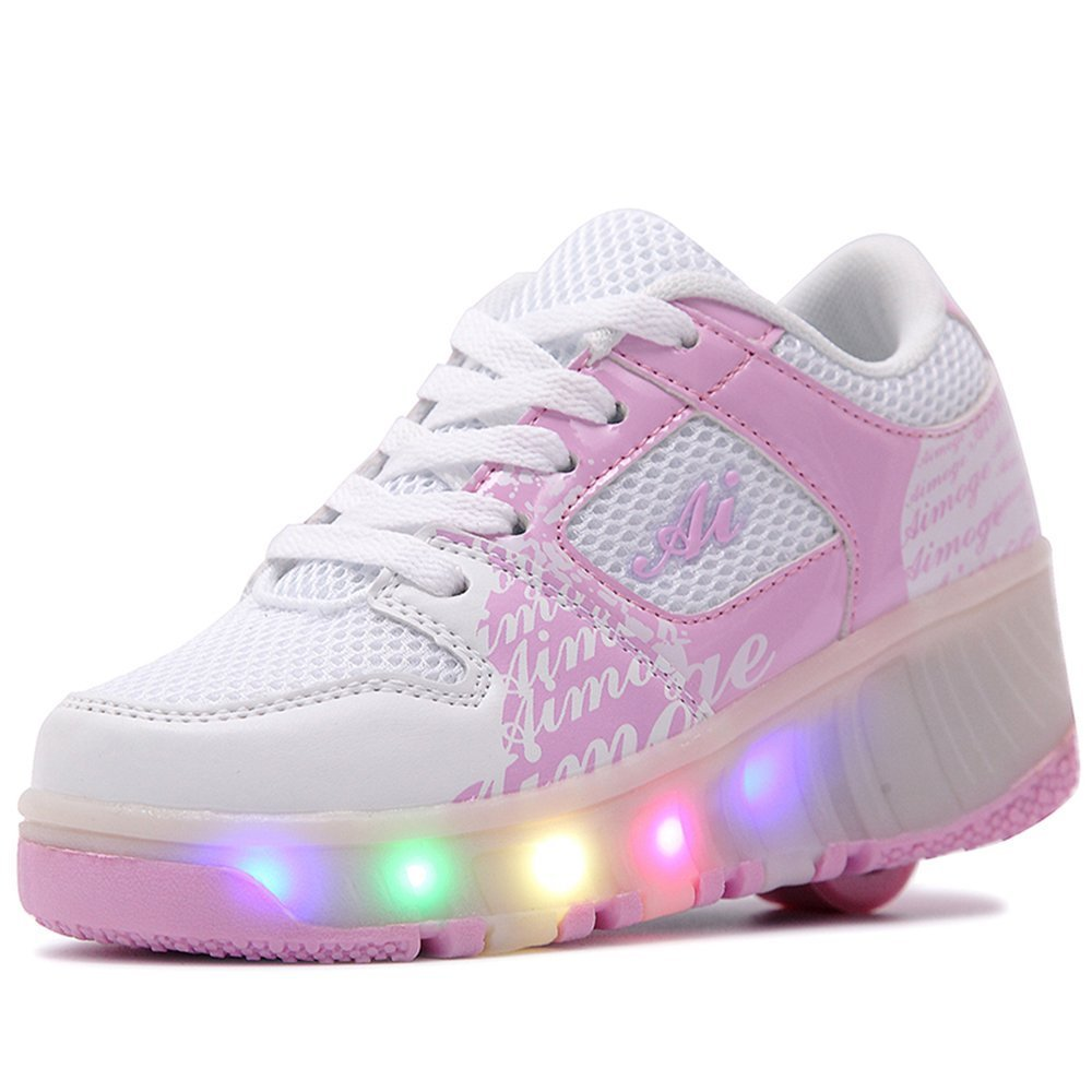 Single Wheel Glowing Sneaker Breathable LED Light Casual Shoes Boys Girls Kids Heely Shoes