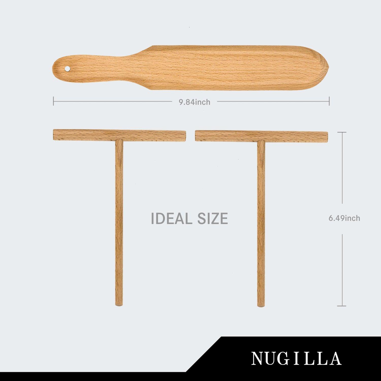 Nugilla Original Crepe Spreader and Spatula Set – 3 Pieces 10-inch Spatula   4.7-inch Spreaders – Premium Beechwood for Crepe Pan Maker/Breakfast Pancakes by Nugilla (Image #1)