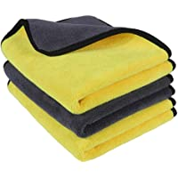 OAN Microfiber Car Cleaning Cloth for Detailing & Polishing 800 GSM | 40x30 cm (Pack of 3) (Random Color)