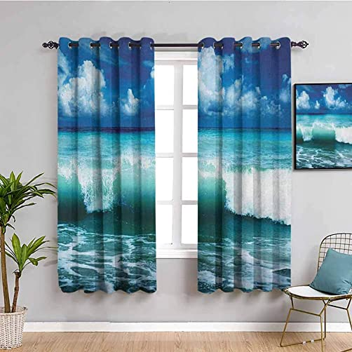 Ocean Black Out Window Curtain 2 Panel