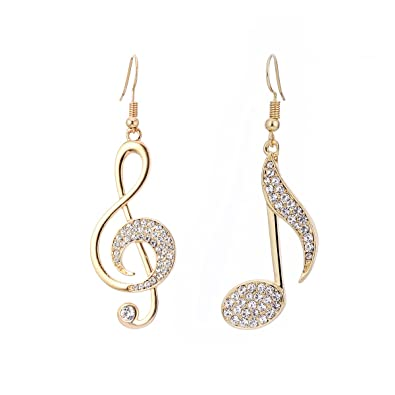 1f08a237d57e1 Dangle Earring for Women,Music Note Drop Earring Girls Gold or Silver  Earrings with CZ Crystal Stainless Steel Earring