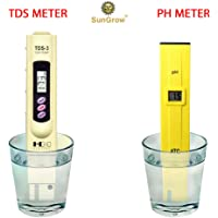 SunGrow Digital pH and TDS Meter Set Highly Accurate Readings - Lightweight, Portable & Easy to Read LCD Screen - Monitor hydroponics, Aquarium, Fruit, tap Water, Pool Water - Batteries Include