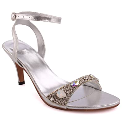 f6973bf2a Unze New Women Ladies Prismatic Sparkling Ankle Strap Stones Mid High Heel  Evening Slip On Party