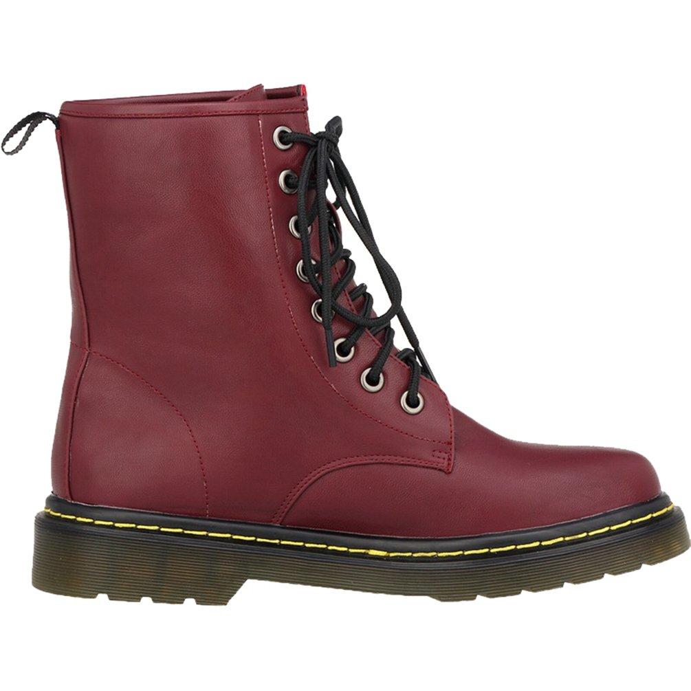 WanYang Bootsschuhe Stiefel Winter Boots fuuml;r Damen PU Leder Kurz Schlupfstiefel38 EU(Fu?l?nge:24CM/9.44?|Wein