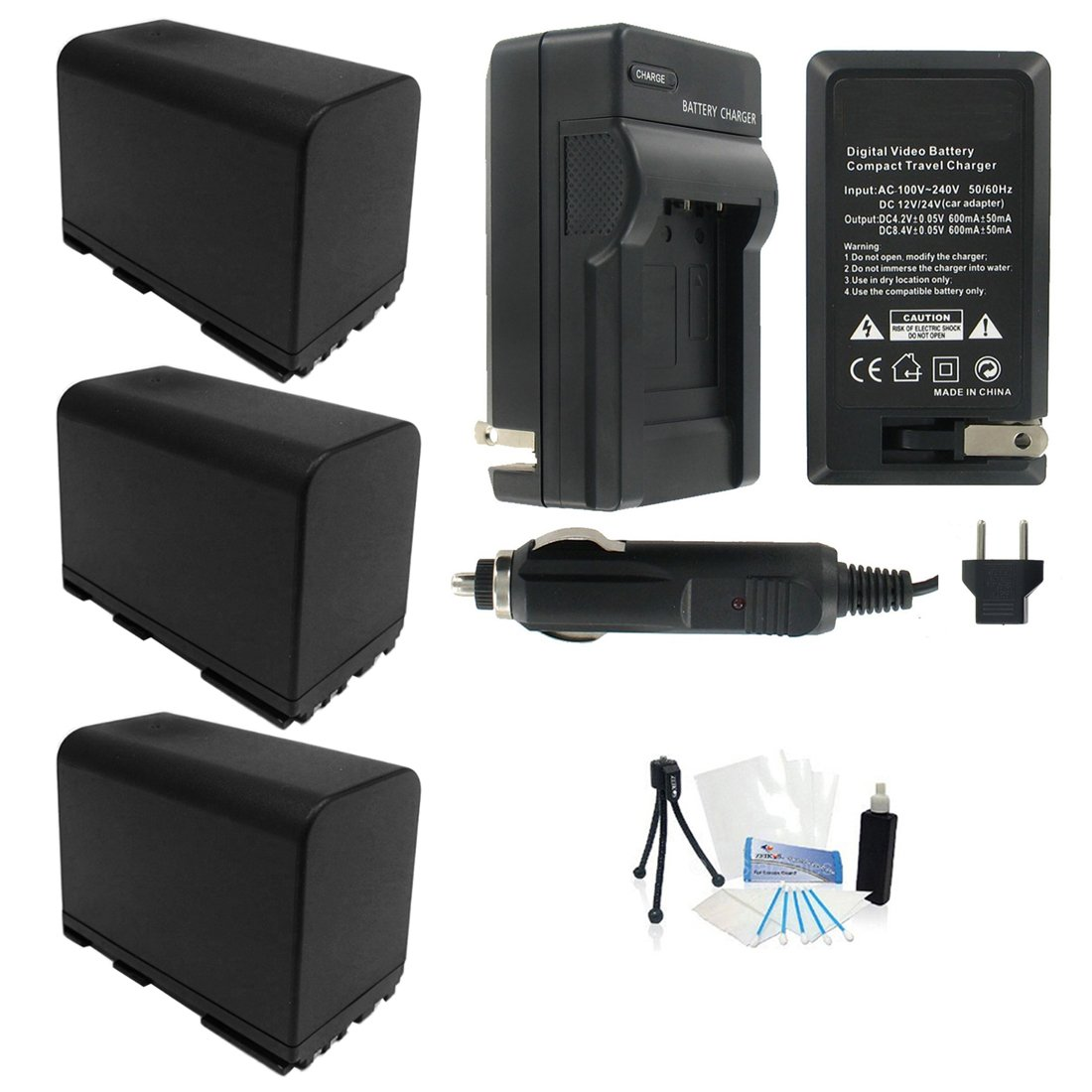 UltraPro 3-Pack of BP-975 High-Capacity Replacement Batteries with Rapid Travel Charger for Select Canon Digital Cameras - UltraPro Bundle Includes: Camera Cleaning Kit, Camera Screen Protector, Mini Travel Tripod