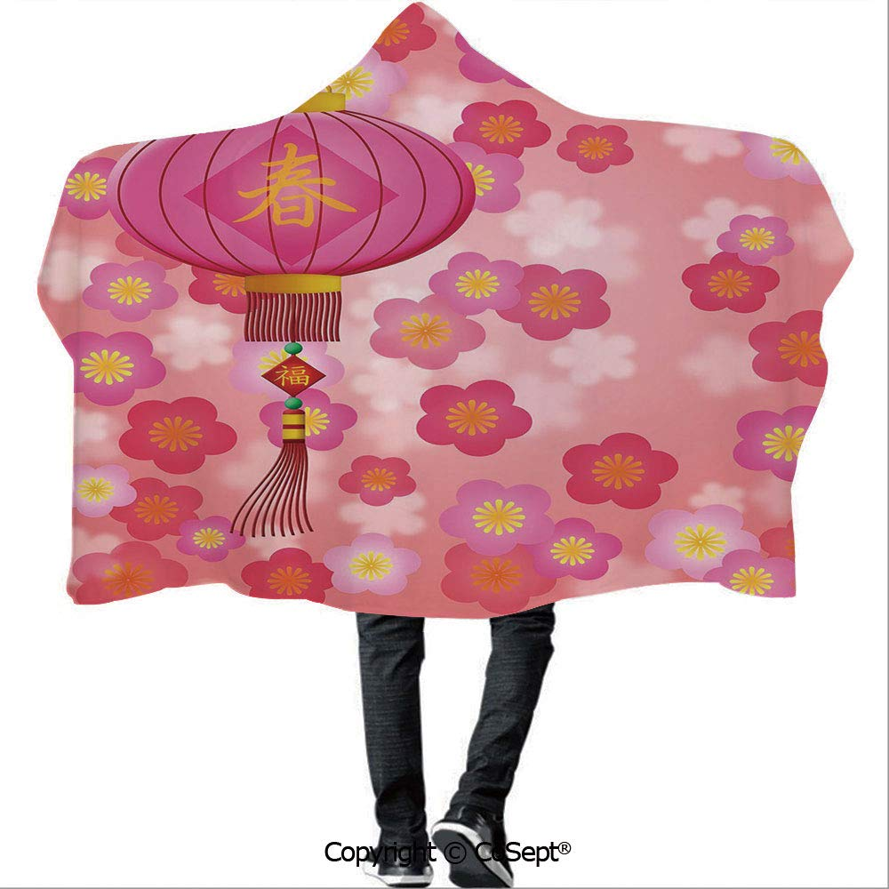AmaUncle Wearable Hooded Blanket,Chinese New Year Theme Cherry Blossom Auspicious Festive Celebration Print,for Adults and Children(59.05x78.74 inch),Light Pink Yellow