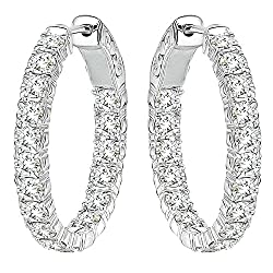 3 Carat G-H Diamond Hoop Huggies Eternity In And Out 14K White Gold Earring